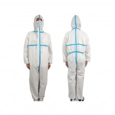Disposable Full-Body Protective Coverall Isolation Suit with Hood and Elastic Cuff protective clothing