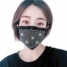 3Pack Dustproof Black Cotton Mask Flash Drill Rhinestone Stylish Face Mask for Adult Female