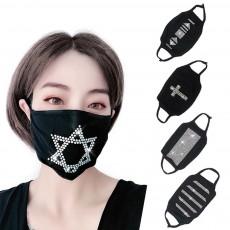 Designer Face Mask Dust-proof Black Flashing Rhinestone Cotton Face Mask 3 Pack