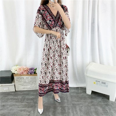 Elegant Fashionable Short Sleeve Dress with V-neckline for Women And Ladies