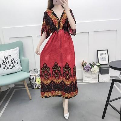 Ladies Long Sleeve V-neck Waist Maxi Dress Women's Bohemian Printed Side Split Dresses