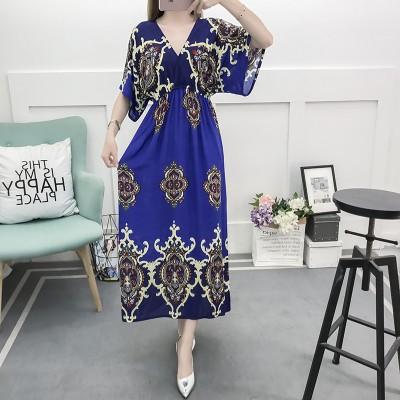 Fancy Bohemian Style Floral Print Maxi Skirt, Lady maxi skirt slim waist dress beach skirtWith Mixed Cotton