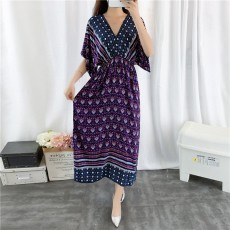 Holiday & Beach Dress for Women, Bohemian Print Dress, Sexy V-neck Long Dress for Women