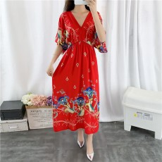 Short Sleeve Dress With V-neckline, High-quality Mixed Cotton Fashionable Dress with Corset Waist For Women And Ladies
