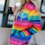 Fashionable And Comfortable Rainbow-colored Printed Pocket Hoodies With Youthful Vitality Designed For Girls 3