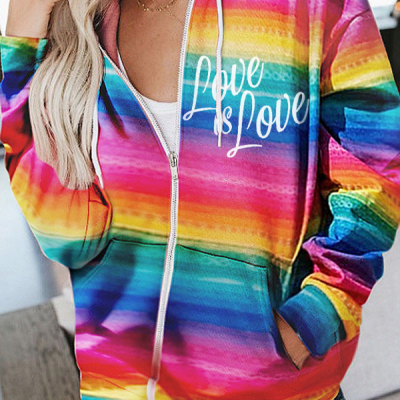Fashionable And Comfortable Rainbow-colored Printed Pocket Hoodies With Youthful Vitality Designed For Girls