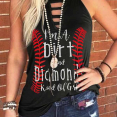 Innovative Trendy Baseball Printing Personalized Letter High Quality Vest Designed for Women And Girls
