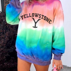 Women's Colorful Contrast Color Design With Thin Letter Printed Sweater Suitable For Young Fashionable Girls
