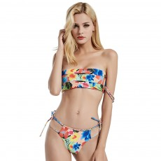 Split Print Low Waist Sexy Braided Rope Strappy Bikini With High Quality Fabric For Ladies And Girls