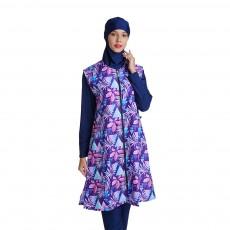Traditional Purple Flower Print Design Muslim Long Waistcoat Swimsuit For Ladies