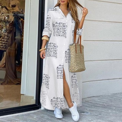 Bohemian Style Printed Long Skirt With Fashionable Beautifully Decorated Long-sleeved Lady's Long Skirt
