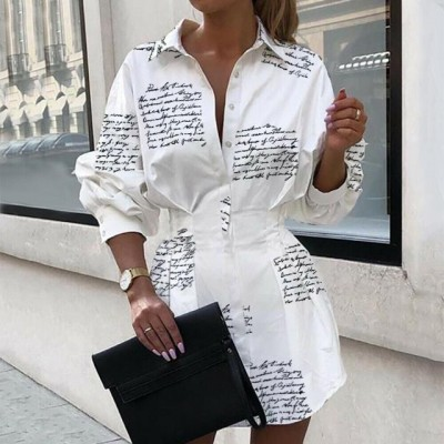 Women Tops And Blouses Office Lady Blouse Slim Shirts Women Blouses Plus Size Tops Casual Shirt Female Fashion Printed Waist Lantern Sleeve Shirt
