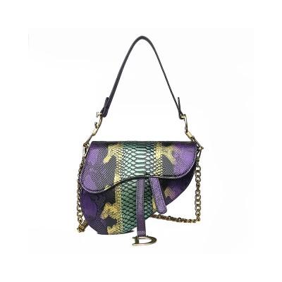 European And American Fan Cross-border New Snake Pattern Fashion Handbags Trend Line Embossed Ladies Shoulder Bag Wild Messenger Small Bag