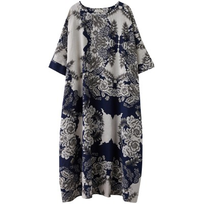 Ladies' Cotton And Linen Literary Oversize Dress Blue and White Porcelain Retro Simple Gown