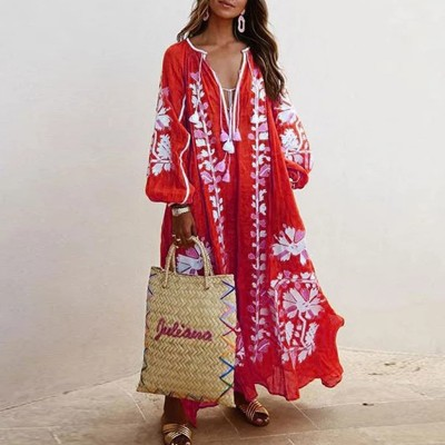 New Autumn Style V-neck Lady's Style Long-sleeved Printed Dress With Tassel Design For Women