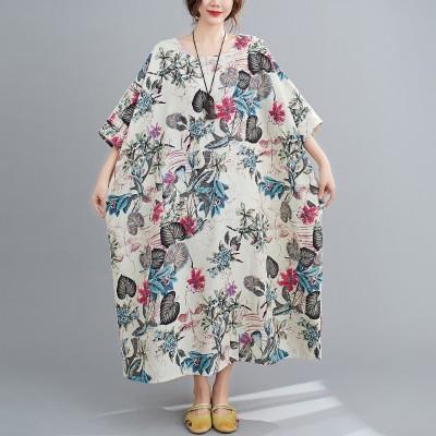Free Size Cotton Linen Round Neck Dress Retro Long Skirt Women's Party Dress Fashion Casual Women's O-neck Sleeve Long Printed Dress