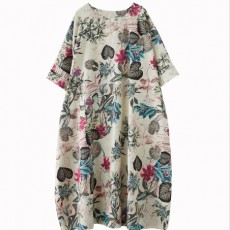 Free Size Cotton Linen Round Neck Dress Retro Long Skirt Women's Party Dress Fashion Casual Women's O-neck Sleeve Long Printed Dress