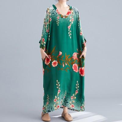 Ladies Long Skirt Literary Ethnic Style Simple V-neck Dress Summer Long Skirt 2020 Floral Bohemian Beach Skirt
