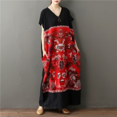Bohemian Women's Long Skirt Sexy V-neck Short-sleeved Contrast Stitching Long Skirt Summer Casual Loose One-size Dress