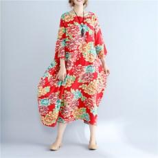 2020 Summer Free Size Ladies Loose Long Retro Shirt Dress Women's Tie-dye Lantern Skirt Literary Retro Cotton Linen Dress