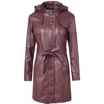 Women's Leather Jacket Coat Female Casual Solid Lapel Zipper Long Sleeve long Coat Autumn And Winter Fashion Warm Items