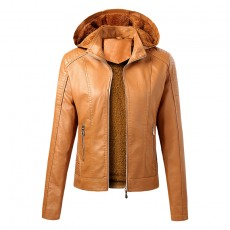 New Style Trendy Plus Velvet Warm Women's Leather Jacket Popular in European And American