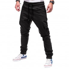 Men's Solid Color Side Pockets With Zipper Tether Belt And Leggings Casual Trousers