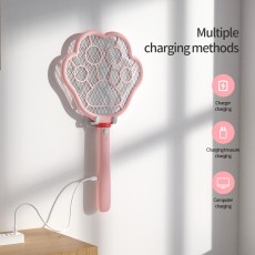 Intelligent Type-C Interface USB Charging LED Electronic Mosquito Swatter with Cute Cat's Claw Wall Hanging Design