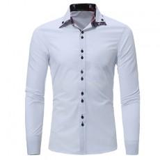 Men's Double Collar Casual Slim Long Sleeve Shirt Men's Solid Slim Basic Lapel Business Cotton Blend Formal Shirt