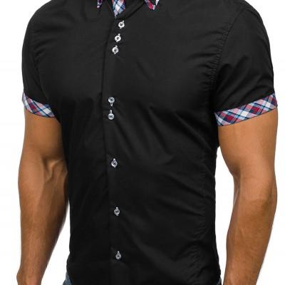 2020 Popular Classic Double Collar Plaid Matching Men's Casual Slim Short-sleeved Shirt