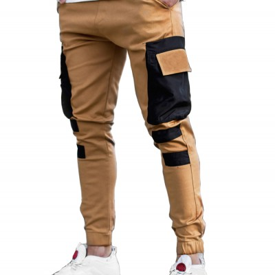 Men's Multi-pocket Stitching Color Matching Beamed Trousers Overalls Casual Patchwork Jogging Trousers Korean Fashion Hip-hop Punk Loose Pants Streetwear