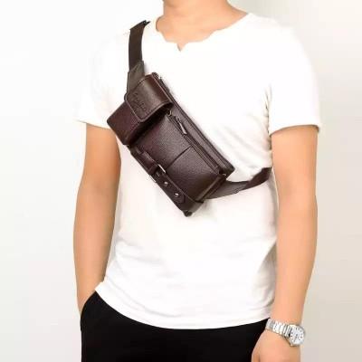 Waist Bag Men's Leather Waterproof Waist Bag Men's Money Belt Bag Mobile Phone Travel Chest Bag Youth Small Bag 2020