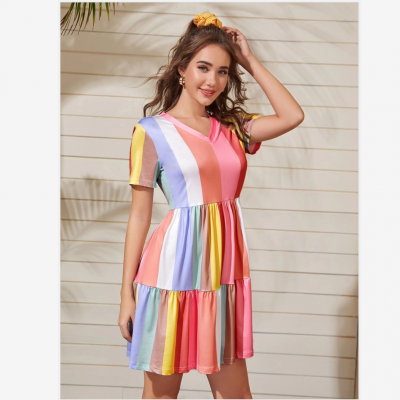 2020 Spring And Summer Stitching Color Contrast Dress Female Summer Bohemian Rainbow Color Dress Sweet And Cute Beachwear Sunscreen Skirt
