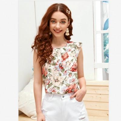 New Women Blouses Holiday Casual Short Sleeve Tops Ladies Printed Shirt Korean Summer Fashion Women Clothing