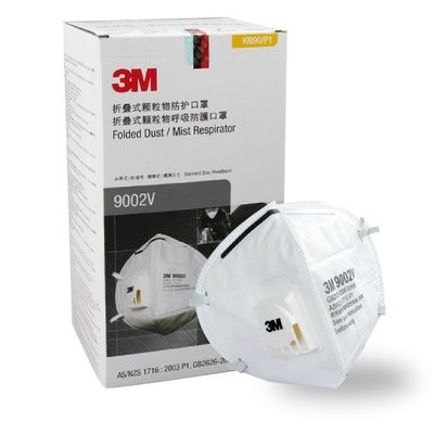 3M 9002V KN90 Particulate Respirator Head-mounted Masks with Breathing Valve PM2.5 Face Mask