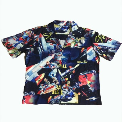 2020 Summer Couple Clothes Men And Women Street European Style Casual Superman Rocket Print Loose Lapel Short Sleeve Shirt