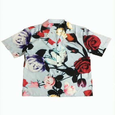 2020 Spring And Summer Tide Brand Street Couples New Color Floral Print Lapel Cardigan Short Sleeve Shirt For Men And Women