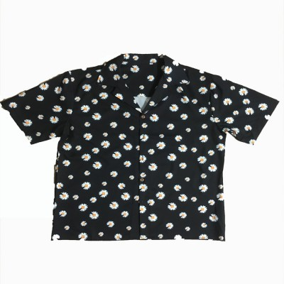 2020 Spring And Summer European Style Couples Small Daisy Print Loose Lapel Casual Short-sleeved Shirt Trend For Men And Women