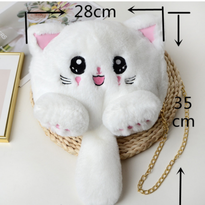 2020 Autumn And Winter Embroidery Imitation Rabbit Fur Kitten Bag Plush Cat Bag Long Tail Temale Chain Diagonal Bag Backpack