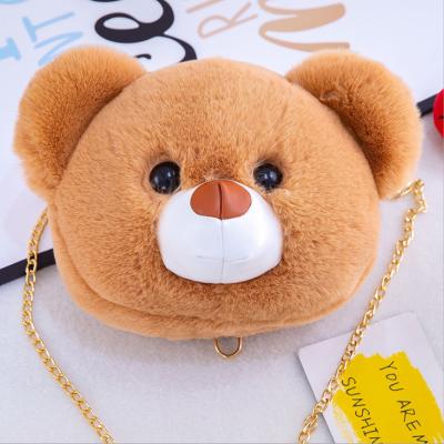 New Plush Toy Bear Head Temale Bag Cute Fashion Popular Messenger Bag Wild Shoulder Bag Doll Series