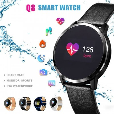 2020 New Q8 Color Screen Waterproof Sleep Heart Rate Blood Pressure Oximeter Step Exercise Super Long Battery Life Smart Bracelet