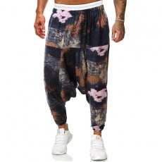 2020 Latest Chinese Style Cotton And Linen Casual Printed Trousers Cross Pants Trend For Man