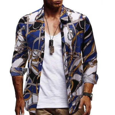 Trendy Fashion Printed Casual Long-sleeved Shirt  American Style Shirt For men