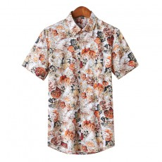Summer New Youth Print Casual Fashion Trend Short-Sleeved Shirt For Man