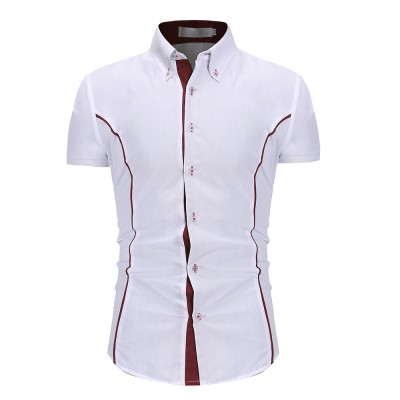 2020 Summer Assault Wind Men's Self-cultivation Tailored Personality Trim Men's Fashion Casual Short-sleeved Shirt