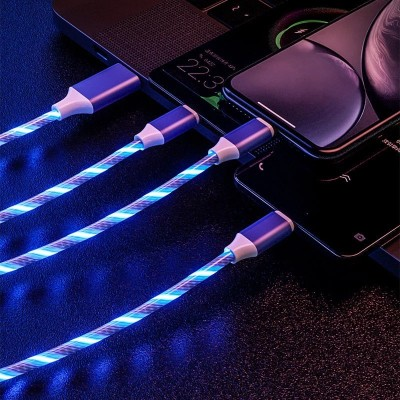 One-to-three Streamer Data Cable Huawei Apple Type-c Charging Cable Colorful Marquee Light Fast Charging