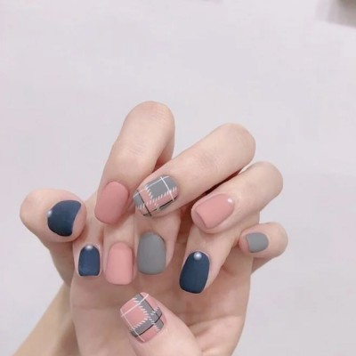 Japanese Plaid Series Matte Matte Nail Stickers Art Patches  Full Stickers Cartoon For Girls