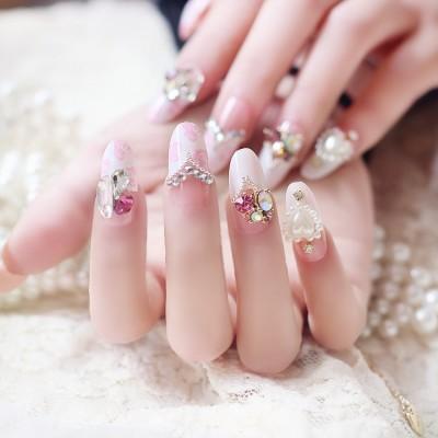24 Pieces Of Pink Heart-shaped Diamonds Finished Nail Art Boxed Wear Bridal Fake Nails Wholesale Nail Art Tools N066
