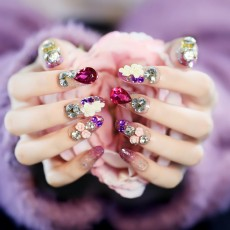 Wedding Dress Purple Water Drop Rose Shiny Bridal Fake Nails Finished Wear Manicure Fake Nail Patch N095