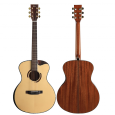 41 Inch Acoustic Guitar Cutaway Single Board Guitar with Electric Box and Rosewood Fingerboard for Beginners Music Lovers